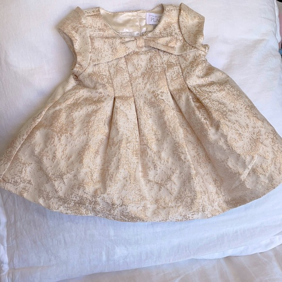 Baby girl rose gold party dress with diaper cover